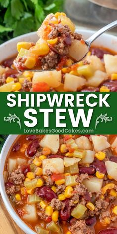 Shipwreck Stew - a simple and economical comfort food full of ground beef, veggies, and beans. Don't let this dish's simplicity fool you! Easy Soup Recipes, Canning Recipes, Healthy Dinner Recipes, Crockpot Recipes, Casserole Recipes, Fall Recipes, Light Soups, Beef Dishes, Cooking Light