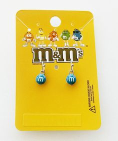 M&M 's Blue Hanging Earrings (Official Licensed Product) Fashion Jewelry Candy