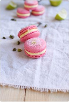 Cherry Macarons with Lime Mousse