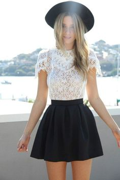 White lace blouse, black skirt and hat. Outfit of the Day: 6 March 2015 Fashion Trends, Spring 2015 Fashion, Spring Fashion Outfits, Look Fashion, Street Fashion, Summer Outfits, Fashion Tips, Skater Skirt Outfit For Summer, White Outfits