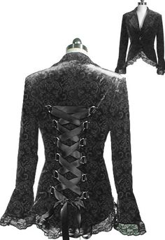 Lace Trim Corset Jacquard Jacket   -Save 37% at Chicstar.com Coupon: AMBER37