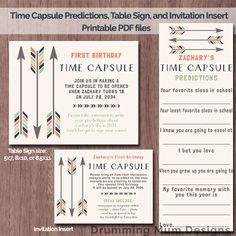 Tribal Arrows Printable time capsule sign / cards, predictions, and invitation insert. Boy First birthday Time capsule. Blue, orange green  *** This listing is for non-editable DIGITAL FILES only, no prints will be sent.***  You will receive: -1 PDF for the time capsule predictions. Each card is 2.5 x 7. There are 4 cards per sheet. -1 PDF file for the invitation insert. Each card is 5 x 3.75. There are 4 cards per sheet. -1 PDF or JPG for the time capsule table sign. (If you choose the ...