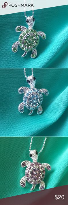 Rhinestone Turtle various colors Super cute Turtle with rhinestones. Available with an 18 or 16 inch chain. Jewelry Necklaces