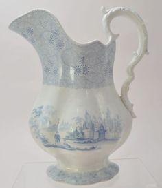 "Wood & Challinor Large Blue Staffordshire Transferware Pitcher ""Mesina"" 1840"