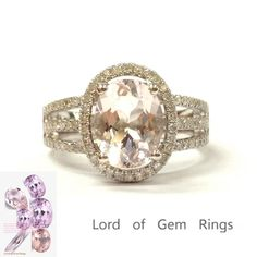 Oval Morganite Engagement Ring Pave Diamond Wedding 14K White Gold 7x9mm Split Shank
