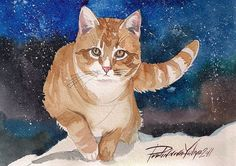 Print of Watercolor Painting Red Cat Kitty Ginger Cat Tabby Cute Red and White Cat Winter Evening