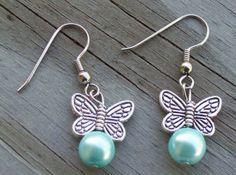 Mint Green Pearl Butterfly Dangle Earrings by Sapphire107 on Etsy, $12.00