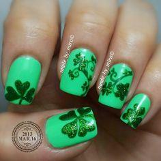 nails Wondrously Polished nails Nail Art made_by_mira Get Nails, Fancy Nails, How To Do Nails, Hair And Nails, Super Cute Nails, Pretty Nails, Nail Art Designs, St Patricks Day Nails, Saint Patricks