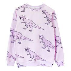Dinosass Sweatshirt* ($69) ❤ liked on Polyvore featuring tops, hoodies, sweatshirts, shirts, sweaters, sweatshirt, sweatshirts hoodies, long sleeve knit tops, purple sweatshirt and print shirts