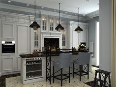 Кухня/столовая в цветах: Бежевый, Светло-серый, Серый, Черный. Кухня/столовая в стиле: Неоклассика.