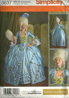 Simplicity 3637 18th Century Gown Rococo Costume Pattern SZ 16 - 24 UC | PatternGate - Craft Supplies on ArtFire