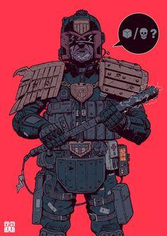 Cool Art: Judge Dredd by Laurie Greasley Cyberpunk Aesthetic, Cyberpunk City, Arte Cyberpunk, Comic Book Characters, Comic Books Art, Comic Art, Book Art, Character Concept, Character Art