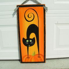 Curly Tail Black Cat Halloween Door Hanging by DebHrabikDesigns