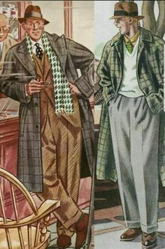 Vintage Fashion Menswear in Fall of 1937 1940s Mens Fashion, Mens Fashion Suits, Vintage Fashion, Victorian Fashion, Mode Vintage, Vintage Ads, Vintage Posters, Fashion Illustration Vintage, Fashion Illustrations