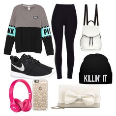 """""""High School Outfit #1"""" by cl-burch on Polyvore featuring NIKE, rag & bone, Apple, Casetify and RED Valentino"""