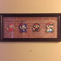 Mario evolution on a cool brick background.