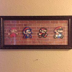 Mario evolution on a cool brick background.
