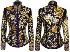 Golden Purple Jacket XS 495.00 Ladies X-Small One-of-a-Kind Western Show Jacket. Please go by the specific measurements listed below.  Non-stop gold applique, purple disks, crystals and more!  Sparkly and elegant. Great for riding and in-hand classes.
