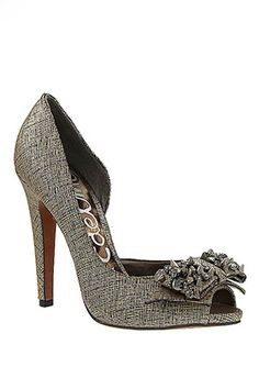 Sam Edelman  Lorna 3/4 D'Orsay Pump With Bow Detail In Aged Metal