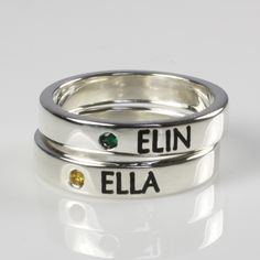 Stacking Name Ring With Birthstone - These latest rings are celebrating two very special little girls.