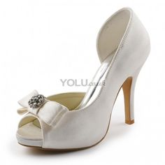 4c838c8a990 Satin Upper Peep Toe Stiletto Heel Wedding Bridal Shoes With Bowknot(More  Colors Available) - Wedding Shoes from yolu.co.uk