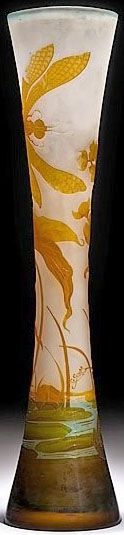 IMAGE: French, circa 1880 to 1890, Galle Cameo monumental art glass vase, dragonflies