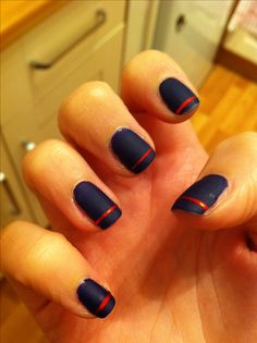 Navy matte manicure with red stripe #nailart #nailtape #nails