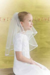 First Communion Lace Veils | 1st Communion Veils - BEST SELLER - White Satin Ribbon Edge First ...