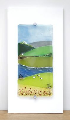 Green and Pleasant Land, fused glass panel.