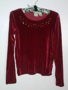 $9.99 Circo Burgundy Red Velvet Rhinestone Side Gathered Long Sleeve Top SM Girls XL | eBay *!* GET PAID TO PIN *!* pincredibles.com/?r=Tina4Music#sthash.61AN5sGr.dpuf