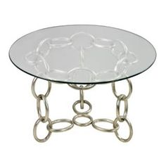 Check out the Sterling Industries 114-103 Chain Side Table with Clear Glass Top in Silver Leaf