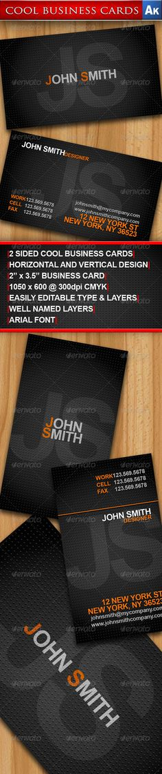 "Cool Business Cards - Horizontal and Vertical #GraphicRiver Cool Business Cards – Horizontal and Vertical Design 2 Sided vertical business card design, great for business or for self promotion. Font Info: Arial Regular (installed virtually on any computer) Size: 2"" x 3.5"" (CMYK) Dimensions: 1050×600 @ 300dpi Bleed size: 0.25"" Margin size: 0.25"" Easily editable type Easily editable layers All layers are clearly named Files Included with Purchase: 1. Cool Business Card – Horizontal.psd 2. Cool…"