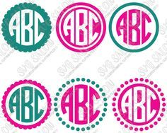 Free Simple Circle Monogram Cutting File Set in SVG EPS DXF JPEG and PNG
