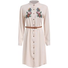 Stand Collar Flower Embroidered Belt Dress (25 CAD) ❤ liked on Polyvore featuring dresses, apricot, pink long sleeve dress, embroidered dress, long sleeve embellished dress, long sleeve collar dress and long sleeve dresses