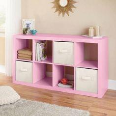 pink 8-cube organizer bookshelf storage perfect for college dorm essentials
