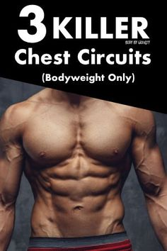 3 Killer Chest Circuits (Bodyweight Only) - Body by Gravity Pushups are perfect for developing chest size and strength. Use one of these three quick push up circuits to target your chest in less than 15 minutes! Chest Workout For Men, Home Workout Men, Workout Routine For Men, Men's Chest Workouts, Bodyweight Strength Training, Weight Training Workouts, Body Weight Training, Muscle Fitness, Workout Exercises