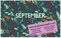 Septembre est arrivé avec la nouvelle collection automne grande taille et grande pointure toujours à petits prix sur www.desfemmesenplus.com et au show-room desfemmesenplus.com à Soissons(02) 1 rue Racine (rond-point du Vase) du mardi au samedi de 10h à 12h30 et de 13h30 à 19h - 03 23 54 77 08
