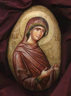 Byzantine Icons, Byzantine Art, Religious Icons, Religious Art, Pebble Painting, Stone Painting, Small Icons, Blessed Mother Mary, Hand Painted Rocks