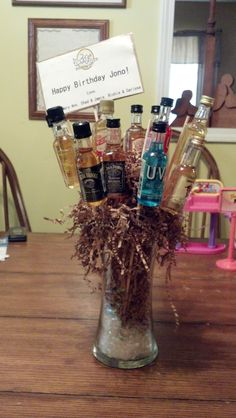 Mini Liquor Bottle Bouquet thinking of making these for my sons 21st birthday party as center peices!!!!