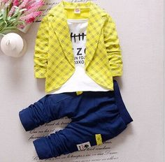 Baby Boys Autumn Casual Clothing Set Baby Kids Button Letter Bow Clothing Sets Babe jacket + pant 2-Piece Suit Set