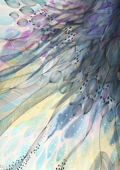 ARTFINDER: Cascade by Helen Wells - A beautiful abstract watercolour painting. It depicts a visually rich, illusionary organic landscape. Inspired by splashing in puddles, jumping in waves, kis...