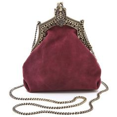 House Of Harlow 1960 Rey Crossbody Clutch In Burgundy Antique Suede (475 PEN) ❤ liked on Polyvore featuring bags, handbags, clutches, purses, burgundy suede, red clutches, burgundy handbag, kisslock handbags, crossbody handbags and chain strap purse