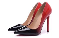 Christian Louboutin Pigalle Follies 100mm Patent Leather Degrade Pointed Toe Pumps Black-Red