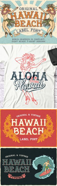 Hawaii Beach is a vintage label font with 6 styles (including layered shadow effect style). This retro font is perfect for any retro design like posters, t-shirts, labels, logo and more. Graphic Design Tools, Retro Design, Vintage Fonts, Vintage Labels, Beach Fonts, Geometric Font, Retro Font, Vintage Hawaii, Hawaii Beach