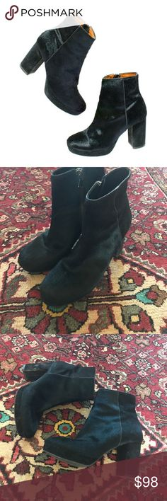 Alexa Chung for Madewell Zowie Boots in Calf Hair alexa chung 1937 footwear Calf haired black half ankle booties. These are so popular they are sold out online and this pair has been worn twice by me and the Hahn just has a little scuff mark as you can see from the picture! These are made in Italy and what a neat pair of fall/ winter boots Madewell Shoes Ankle Boots & Booties