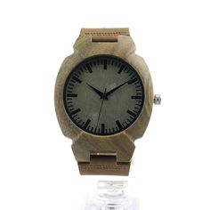 Green Wood Dial Genuine Leather Band //Price: $62.11 & FREE Shipping //     #bracelets #pretty