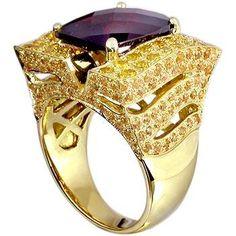 18k gold garnet, spessartite, yellow sapphire ring