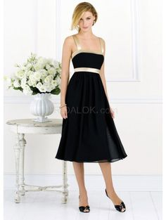 Black Empire Waist A-line Sash Satin Bridesmaid Dress