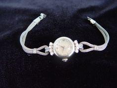 14 K White Gold Vintage Movado Women's Watch with Diamonds
