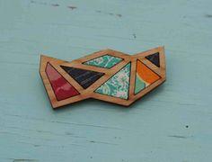 Madz Has Runaway brooch. Triangle Brooch - Timber and Fabric - mixed fabrics.